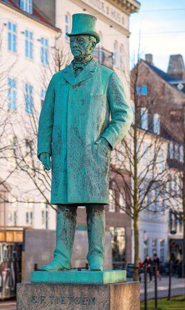 financier: COPENHAGEN, DENMARK - MARCH 11, 2017: Statue of Tietgen at Sankt Annae Plads in Copenhagen. Carl Frederik Tietgen (19 March 1829 - 19 October 1901) was a Danish financier and industrialist.