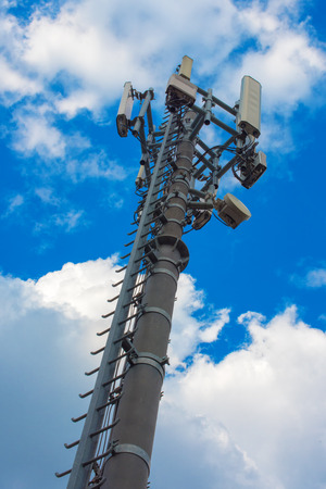 Communication repeater tower, unusual low angle view Stock Photo
