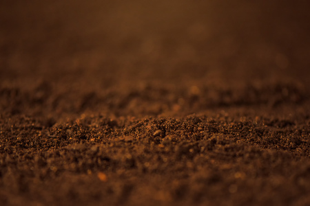Soil close up, macro view of arable agricultural land ready for seeding