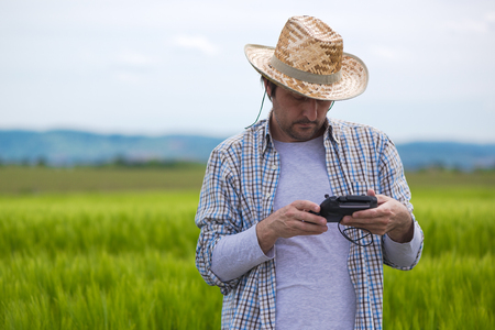 man flying: Smart farming concept, farmer using drone remote controller to navigate aircraft in cultivated field and examine crops Stock Photo