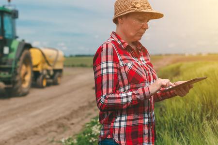 cultivo de trigo: Uso de la tecnología moderna en la actividad agrícola, agricultor agricultor agrónomo con ordenador digital tableta utilizando aplicaciones móviles en cultivos de trigo de campo, tractor con pulverizador de cultivos en el fondo
