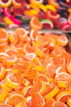 sweet treats: Sweet sugar treats on street market, selective focus Stock Photo