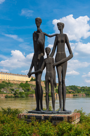 NOVI SAD, SERBIA - MAY 15, 2017: The monument to the victims of the raid in Novi Sad, Serbia, in january of 1942 during second World War taht resulted in the deaths of 3000-4000 civilians in the southern Backa region of Hungarian-occupied Yugoslavia.