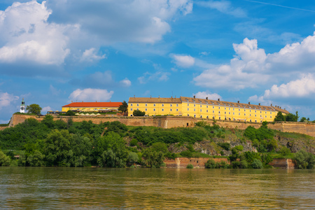 NOVI SAD, SERBIA - MAY 15, 2017: Petrovaradin Fortress is a fortress in the town of Petrovaradin, part of the City of Novi Sad, Serbia. Cornerstone of the fortress was laid on 18 October 1692. Nowdays it is famous as location of music festival EXIT.