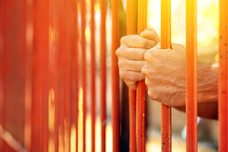 incarcerated: Male hands behind prison yard bars, incarcerated captivated person in jail