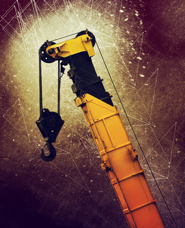 Industrial crane on construction industry site, mixed media
