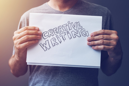 Creative writing, concept of learning and mastering creative process outside the bounds of normal professional, journalistic or academic literature Stock Photo