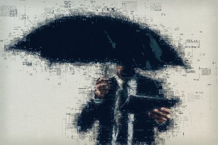 Businessman with umbrella is reading e-news or online newspaper outdoors on the rain, mixed media graphic illustration