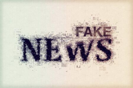 偽のニュースのコンセプト、文字とパターン図