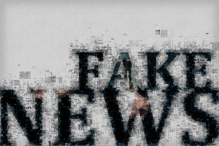 Fake news concept, graphic illustration with letters and patterns