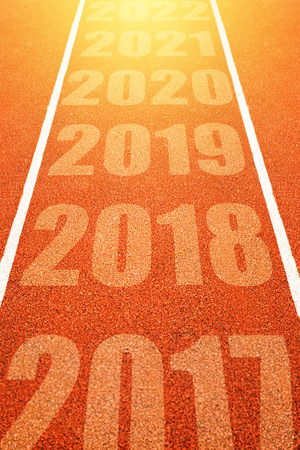 2018, Happy New Year, continuous year numbers count on athletics running track