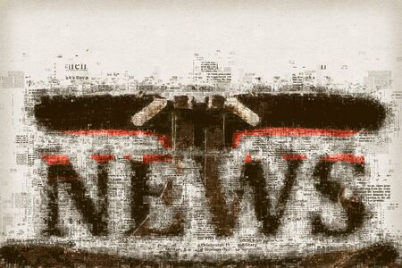 journalism: News and journalism, conceptual illustration for press, newspaper and media background