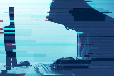 フード付きのコンピュータ ハッカーがデスクトップ pc で作業します。P2P と著作権侵害、コンピューター ウイルスとグリッチの効果を持つトロイの 写真素材