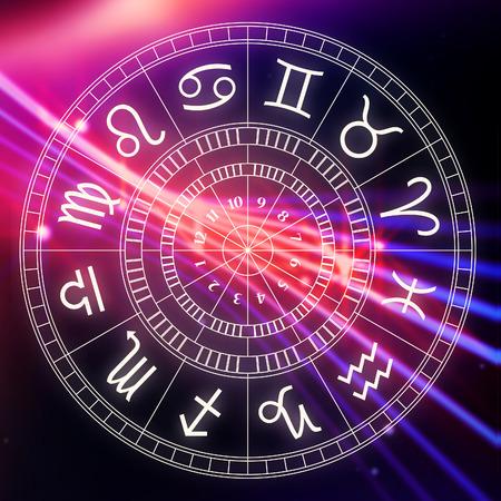 Zodiak astrologia oznaki horoskop, proste ilustracji lineart