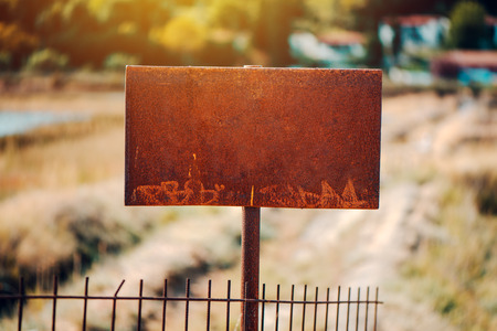 Corroded rusty sign board as copy space Stock Photo