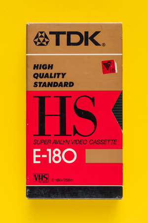 NOVI SAD, SERBIA - NOVEMBER 6, 2017: TDK VHS video cassette. Video Home System, recording tape cassettes was released in Japan in late 1970s. Retro video technology illustrative editorial. Editorial