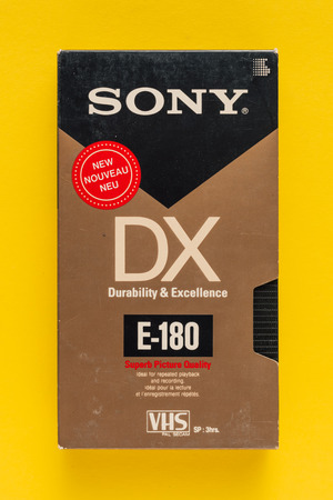 NOVI SAD, SERBIA - NOVEMBER 6, 2017: Sony VHS video cassette. Video Home System, recording tape cassettes was released in Japan in late 1970s. Retro video technology illustrative editorial.