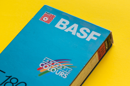 NOVI SAD, SERBIA - NOVEMBER 6, 2017: BASF VHS video cassette. Video Home System, recording tape cassettes was released in Japan in late 1970s. Retro video technology illustrative editorial.