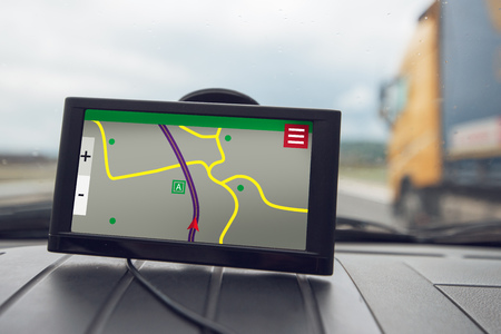 GPS (Global Positioning System) car navigation device, help and assistance with direction on road
