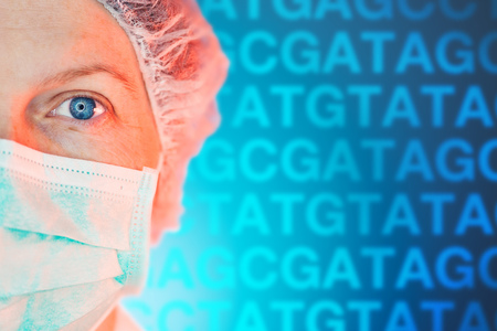 Medical geneticists diagnosing genetic disorders, healthcare medical professional working in hospital clinic