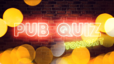Pub Quiz neon sign mounted on brick wall, 3d render illustration