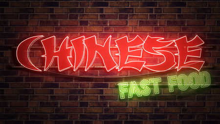 Chinese Fast Food neon sign mounted on brick wall, conceptual 3d render illustration