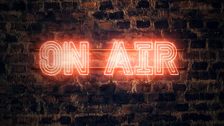 On Air neon sign mounted on rustic brick wall, illustration