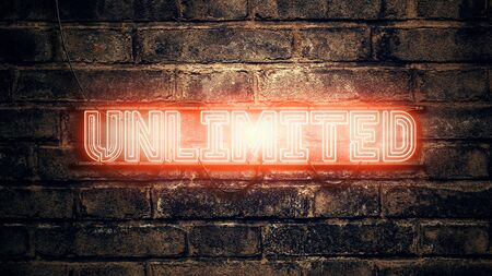 Unlimited neon sign on brick wall, 3d rendering illustration