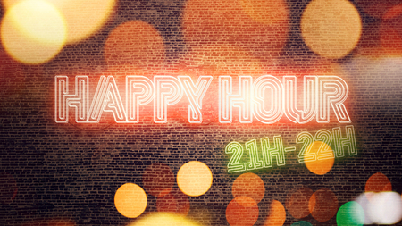Happy Hour neon sign mounted on brick wall, conceptual 3d render illustration