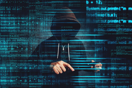 Cybersecurity - computer hacker with digital tablet computer hacking network security system