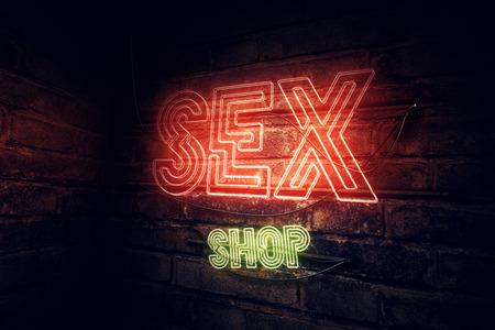 Sex Shop neon sign, conceptual 3d rendering illustration Stock Photo
