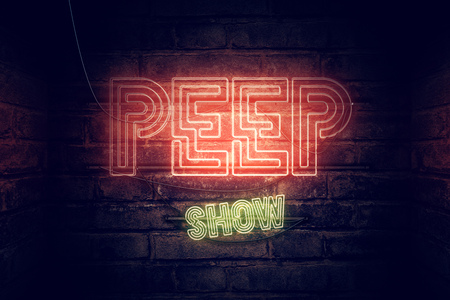 Peep show neon sign, conceptual 3d rendering illustration 写真素材 - 98972671
