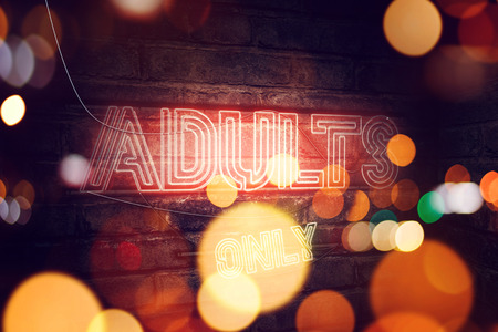 Adults Only 18+ neon sign on brick wall, conceptual 3d rendering illustration for pornography, sex and adult content Banco de Imagens