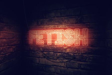 Fetish neon sign, conceptual 3d rendering illustration 写真素材