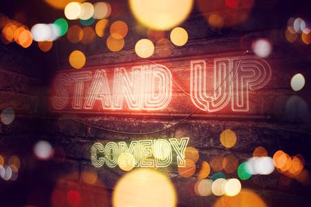 Stand Up Comedy neon sign conceptual 3d rendering illustration Archivio Fotografico
