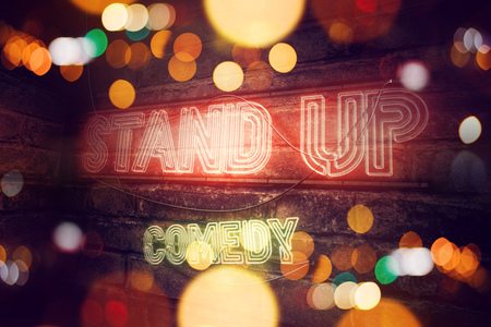 Stand Up Comedy neon sign conceptual 3d rendering illustration Stock Photo