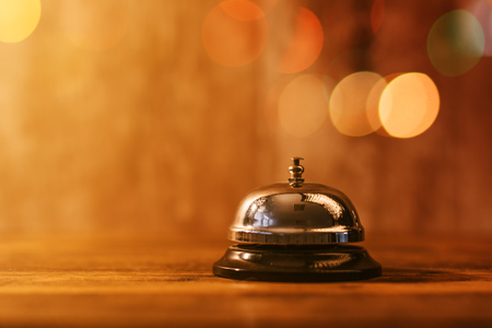 Restaurant service bell, warm retro toned image,s elective focus Stock Photo