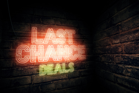 Last chance deals neon sign, 3d rendering illustration Stok Fotoğraf