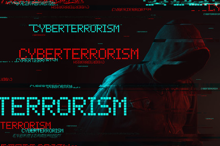 Cyberterrorism concept with faceless hooded male person, low key red and blue lit image and digital glitch effect
