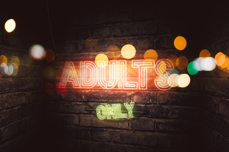 Adults Only 18+ neon sign on brick wall, conceptual 3d rendering illustration for pornography, sex and adult content 写真素材