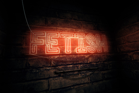 Fetish neon sign, conceptual 3d rendering illustration Stock Photo