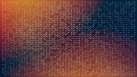 Circuit board for electronic components, abstract 2d illustration Stock Photo