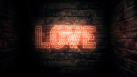 Love neon sign mounted on brick wall, 3d rendering illustration