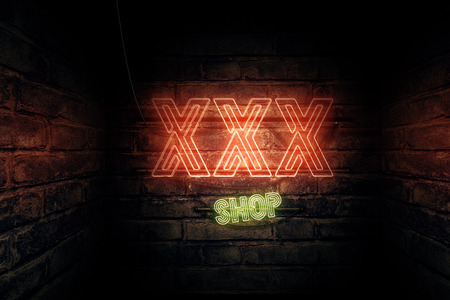 XXX Shop neon sign, conceptual 3d rendering illustration