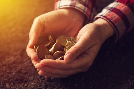 Agricultural productivity, money yield and income after crop harvest, female farmer and agronomist with handful of golden coins Stock Photo