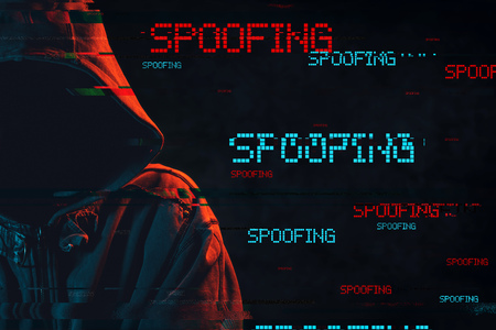 Spoofing concept with faceless hooded male person, low key red and blue lit image and digital glitch effect 版權商用圖片 - 101339579