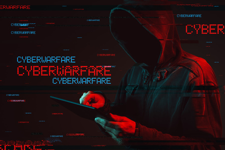 Cyberwarfare concept with faceless hooded male person, low key red and blue lit image and digital glitch effect