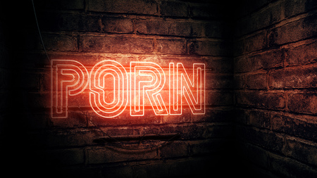 Porn neon sign, conceptual 3d rendering illustration 写真素材
