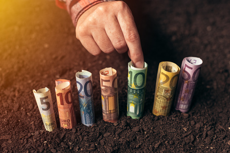 Euro bank loans for agricultural projects, productivity raising, biodiversity management and yield profit increasing Stock Photo