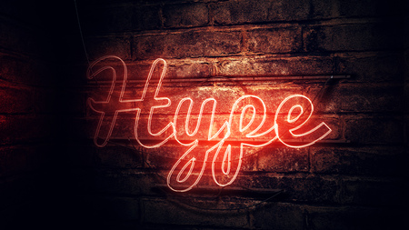 Words and phrases millennials use, conceptual image with glowing neon sign - Hype, illustration Stock Photo